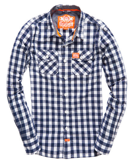 Mens washbasket shirt in dark navy blue gingham superdry for Mens blue gingham shirt