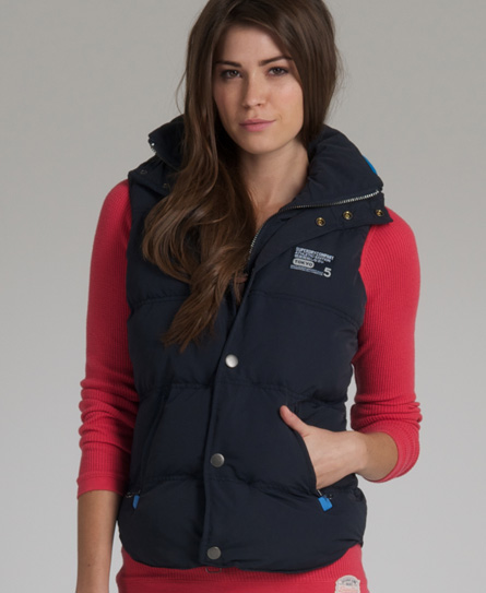 Superdry Hooded Camping Gilet Navy