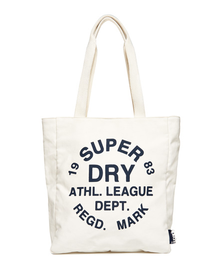 cream Superdry Athletic League Canvas Tote Bag