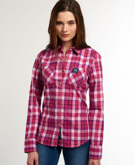 Womens - Classic Lumberjack Shirt in Rosella Pink Check | Superdry