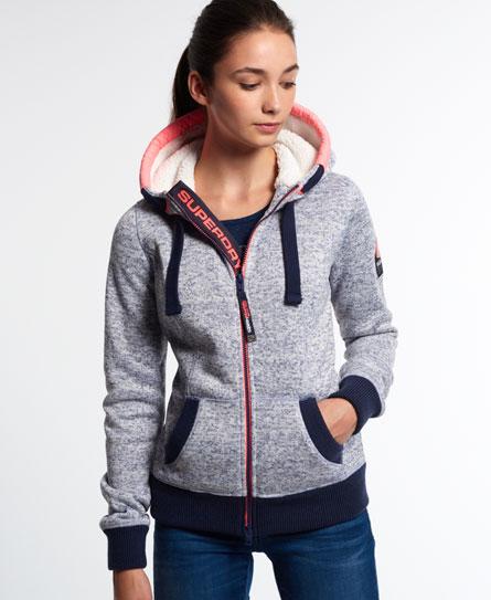 womens storm zip hoodie in blue blizzard grit superdry. Black Bedroom Furniture Sets. Home Design Ideas