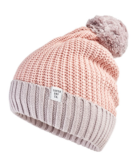 Superdry Colour Block Beanie Pink