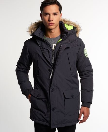 Mens Everest Twin Peaks Jacket In Charcoal Superdry