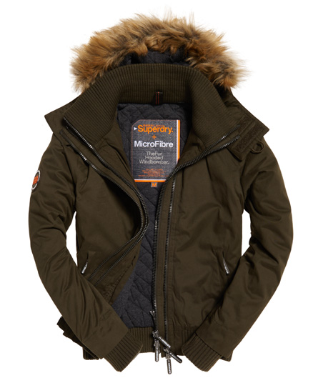 Superdry Microfibre Hooded Parka Khaki