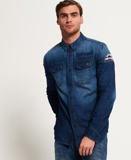 Superdry Superdry Dragway Patch denimskjorte