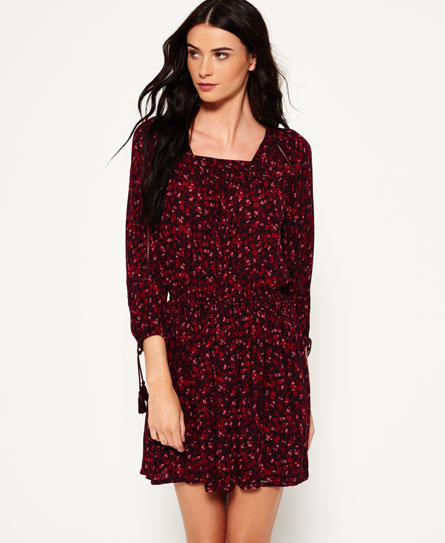 scatter ditsy canyon berry Superdry Topeka Kleid mit Carré-Ausschnitt