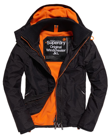 charcoal marl/fluro orange Superdry Pop Zip Hooded Arctic Windcheater Jacket