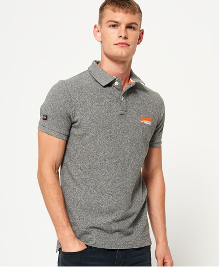 mid grey grindle Superdry Classic Pique Polo Shirt