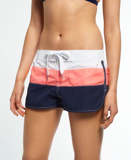 optic/fluro coral/navy Superdry Cali Stripe Boardshorts