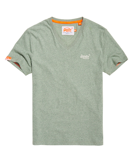 Mens vintage embroidered v neck t shirt in meadow green