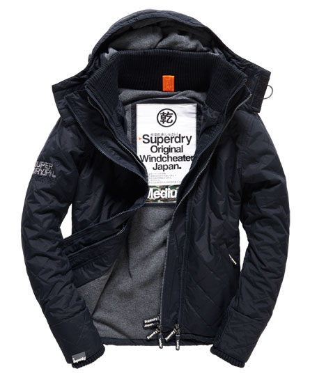 Mens Quilted Hooded Polar Windcheater Jacket In French