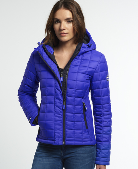 Womens Hooded Box Quilt Fuji Jacket In Flash Royal