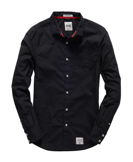 Mens Laundered Cut Collar Shirt In Black Superdry