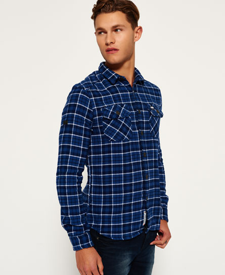 lincoln navy check Superdry Milled Flannel Hemd
