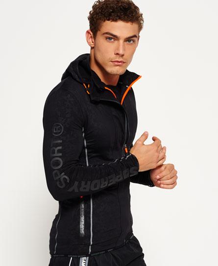 黑色迷彩 Superdry Sports Athletic饰片拉链开衫卫衣