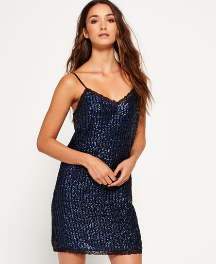 midnight navy Superdry Premium Sequin Trägerkleid