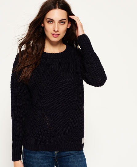 fortune navy Superdry Albany Textured Knit Pullover
