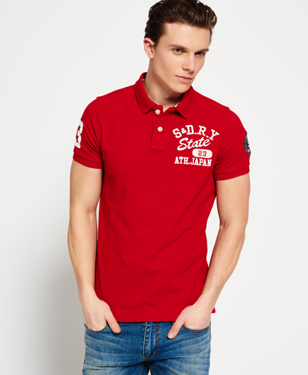 varsity red Superdry State Pique Polo Shirt