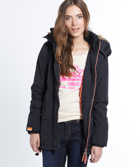 Womens - Polar Wind Parka Coat in Black/light Coral | Superdry