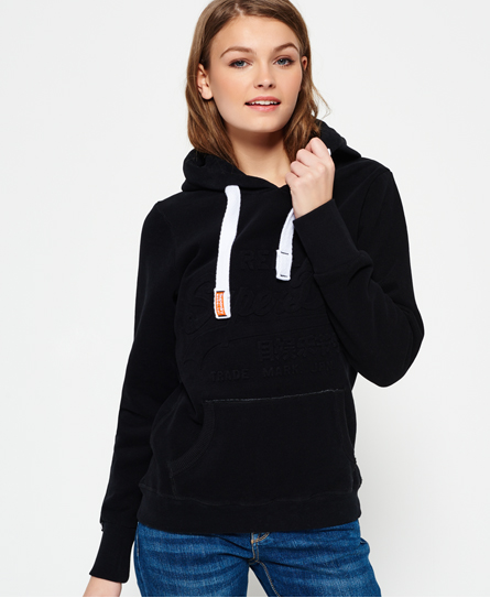 superdry embossed logo hoodie damen hoodies. Black Bedroom Furniture Sets. Home Design Ideas
