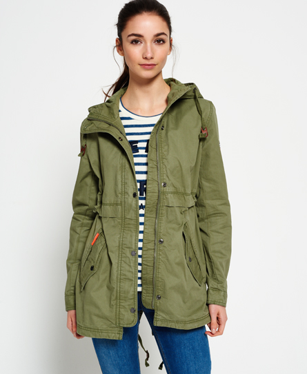 Womens - Classic Rookie Fishtail Parka Jacket in Duty Green | Superdry