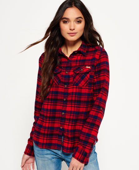 ontario navy check Superdry Milled Flannel Shirt
