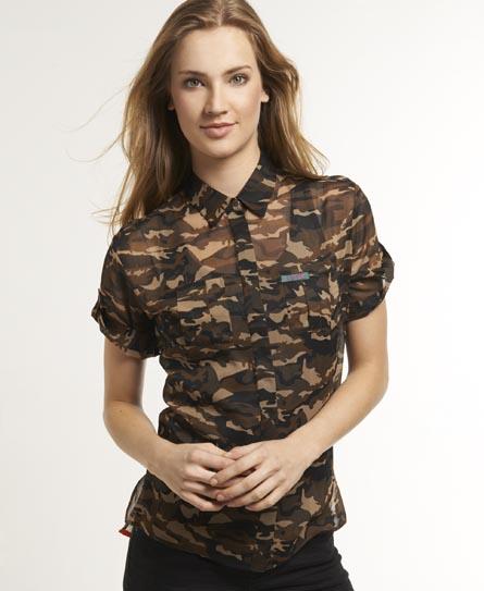 Superdry Sheer Camo Shirt Brown