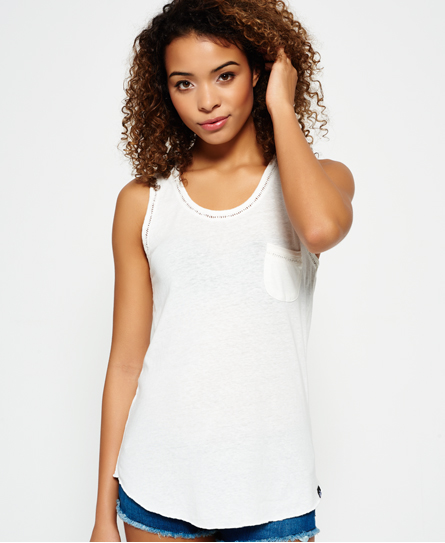 off white Superdry Ladder Lace Trim Tank Top