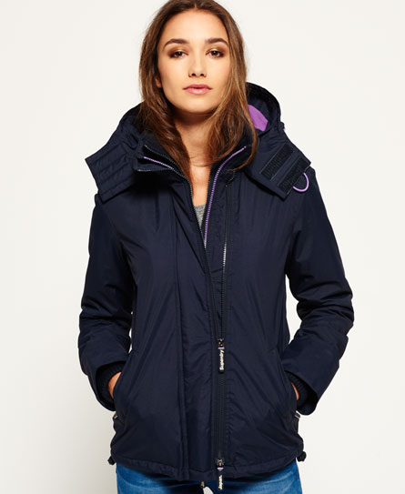 french navy/lurex purple Superdry Pop Zip Hooded Arctic SD-Windcheater Jacket
