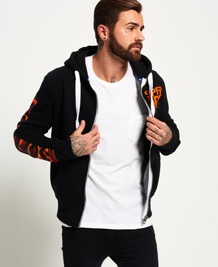 schwarz Superdry Athletic Kapuzenjacke