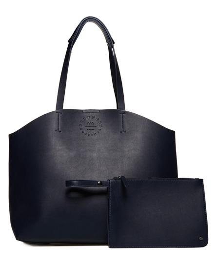 navy/ecru Superdry Etoile Parisian Trapeze Tote Bag