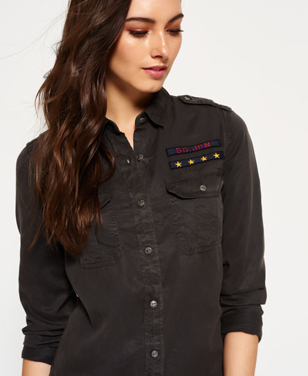 washed black Superdry Military Shirt