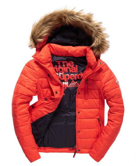 Womens Fuji Slim Double Zip Hood Jacket In Fire Engine
