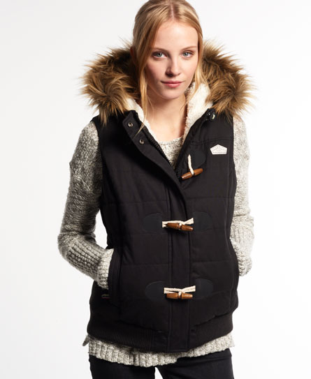 Superdry Microfibre Toggle Puffer Gilet Black