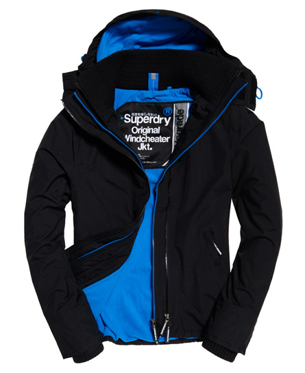 schwarz/denby-blau Superdry Pop Arctic SD-Windcheater mit Kapuze und Reißverschluss