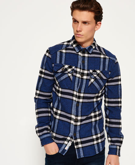 marvel blue check Superdry Milled Flannel Hemd
