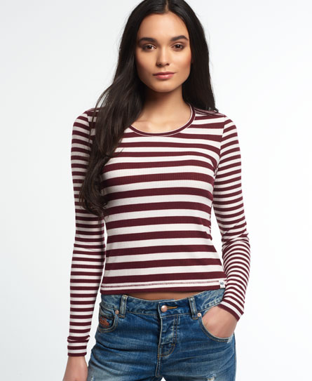 fig/cream Superdry Essentials Mix Stripe Rib T-Shirt