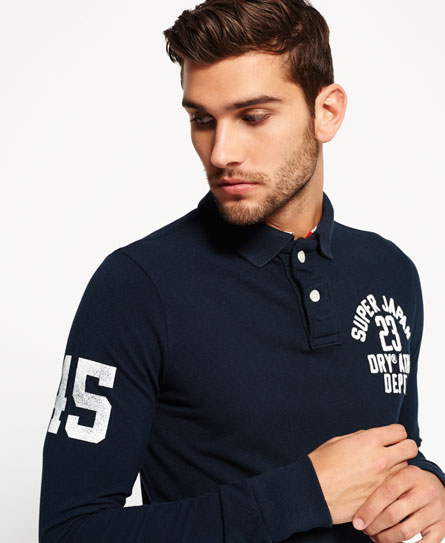 total eclipse Superdry Super State Long Sleeve Polo Shirt