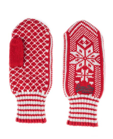 Superdry Fairisle Mittens Red