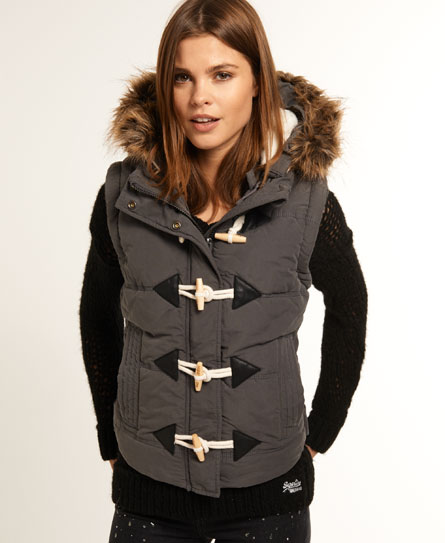 Superdry University Duffle Gilet Dark Grey