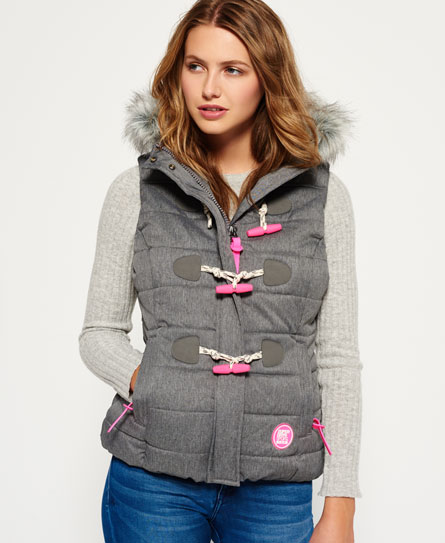 grey marl Superdry Marl Toggle Puffle Gilet