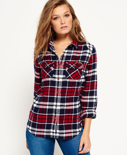 ashby check crimson Superdry Milled Flannel Shirt