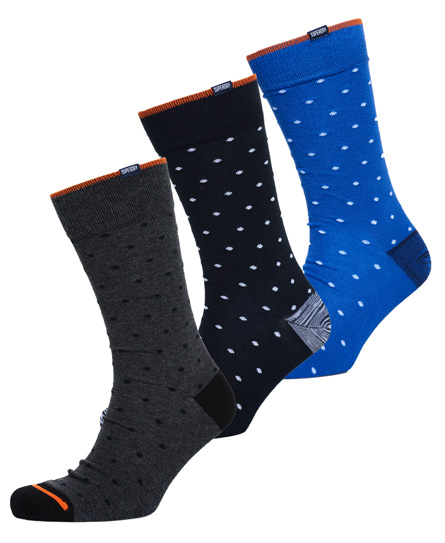 eclipse navy dot/charcoal dot/royal dot Superdry CIty Sock Triple Pack