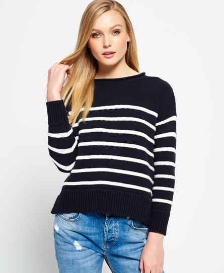 navy/cream Superdry Marine Stripe Slouch Knit Jumper