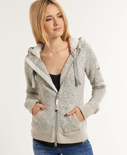 womens storm zip hoodie 11 in grit grey superdry. Black Bedroom Furniture Sets. Home Design Ideas