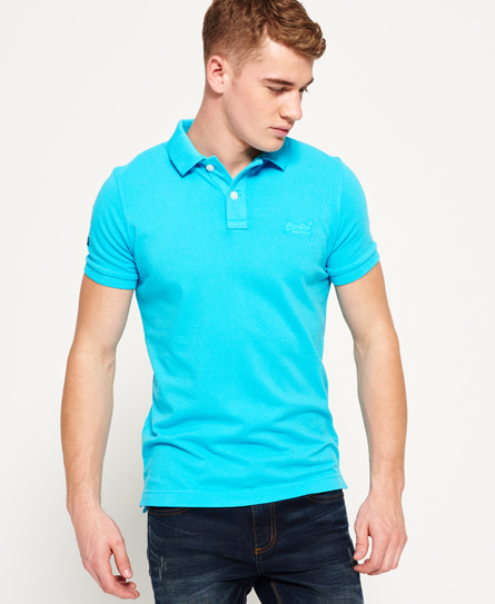 new turquoise Superdry Vintage Destroyed Pique Polo Shirt