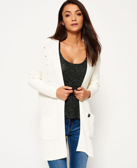 cream Superdry Eli Rib Cardigan