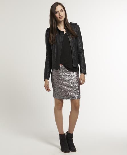 Superdry Glitter  Ball Skirt Silver