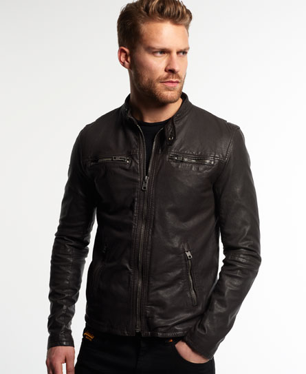 brown Superdry Real Hero Leather Biker Jacket
