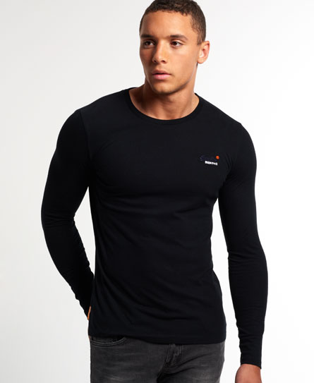 Mens vintage embroidery long sleeve t shirt in black for Retro long sleeve t shirts